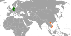 Map indicating locations of Germany and Vietnam