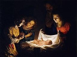 Gherardo delle Notti o Gheritt van Hontorst - Adorazione del Bambino - Google Art Project