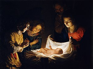 Two Girls Dressing a Kitten by Candlelight - Gerard van Honthorst, Adoration of the Child, 1620. Uffizi gallery, Florence.