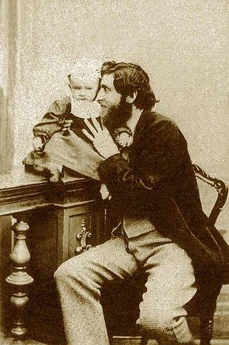 Giorgio Sommer - Image: Giorgio Sommer with his son Edmondo in 1864 self portrait