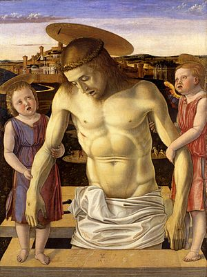 Dead Christ Supported by Two Angels - Image: Giovanni bellini, pietà del museo correr 01