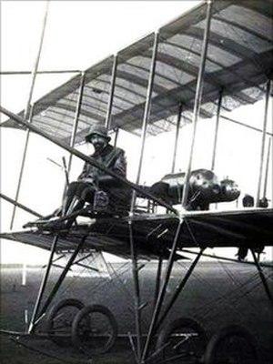 Giulio Gavotti - Giulio Gavotti on a Farman biplane, Rome 1910.