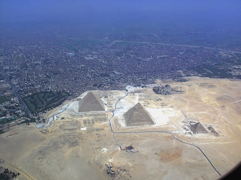 Giza pyramids from the air. Courtesy Wikimedia/Raimond Spekking
