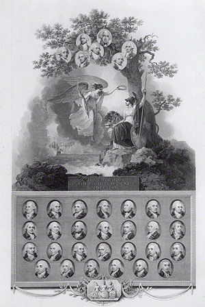 Henry Harvey - Plate commemorating the Glorious First of June with miniature portraits of all of the commanders