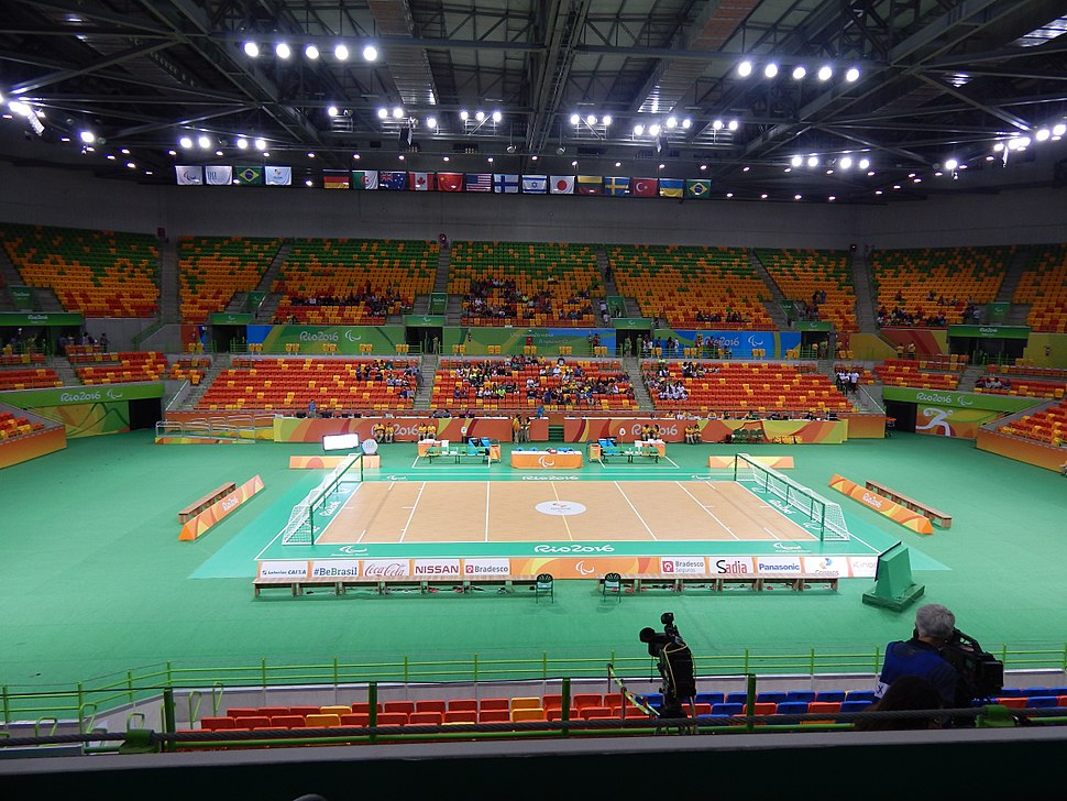 Goalball court in the Future Arena at Rio