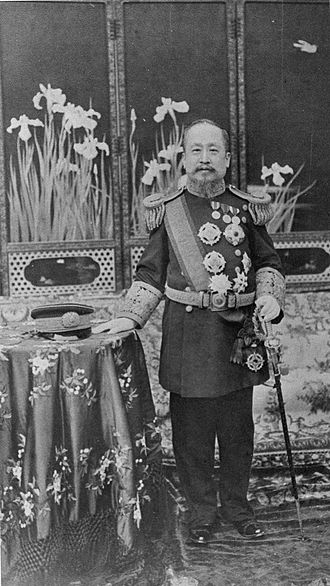 Gojong of Korea - Gojong wearing western-style uniform (korean:태황제 예복, hanja:太皇帝 禮服). He wore it since the abdication of 1907.