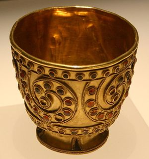 Trialeti culture - A bejeweled gold cup from Trialeti. National Museum of Georgia, Tbilisi.
