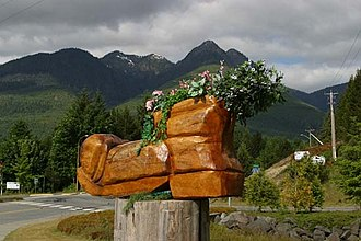 Gold River, British Columbia - The Blossoming Boot by Chainsaw Carver Lee Yateman. Made for the Great Walk.