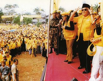 B. J. Habibie - Habibie(center) as Golkar Board of Patron member during the 1997 campaign in Tanah Abang, Jakarta.