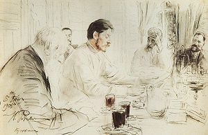 Children of the Sun (play) - Maxim Gorky reading his drama Children of the Sun at The Penates, the house of the artist Ilya Repin, who did the drawing in 1905.