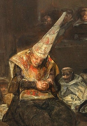 Sanbenito - Convicted heretic before the Inquisition wearing a sanbenito and coroza (Francisco de Goya)