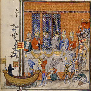 Entremet - The staging of an elaborate entremet at the banquet of Charles V in 1378; illumination from Grandes Chroniques, late 14th century.
