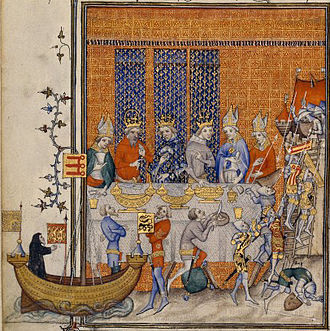 Entremets - The staging of an elaborate entremets at the banquet of Charles V in 1378; illumination from Grandes Chroniques, late 14th century.