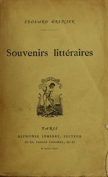 File:Grenier - Souvenirs littéraires, 1894.djvu