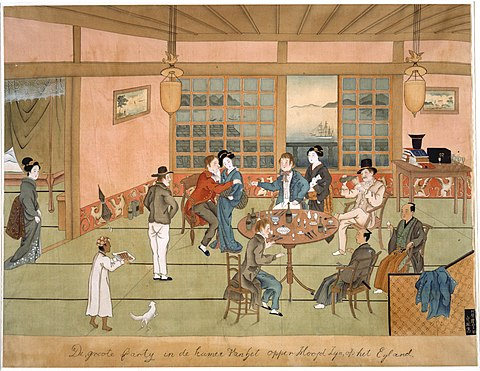 Europeans accompanied by Japanese courtesans in Dejima, the Dutch trading colony in the harbor of Nagasaki, early 19th century. Grote partij bij het opperhoofd van Dejima.jpg