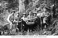 Group of men posing with guns and carcass of a bear tied to a pole, vicinity of Clatsop, Oregon, ca 1918 (INDOCC 723).jpg