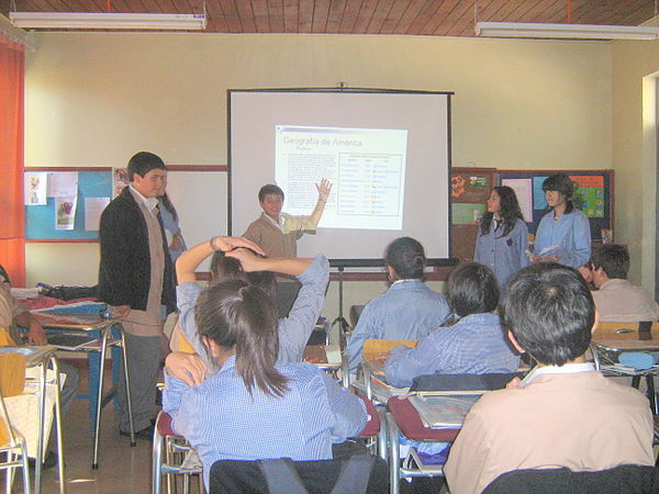 Chilean students presenting a PowerPoint about America, in Escuela Barreales, 2008.