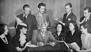 Guiding Light (1937–49) - Cast of the show in December 1940. Front row from left: Ruth Bailey (Rose Kransky), Gladys Heene (Torchy Reynolds), Dr. John Ruthledge, Mignon Schreiber (Mrs. Kransky), Muriel Bremner (Fredericka Lang), Betty Arnold (Iris Marsh), Back row from left: Bill Bouchey (Charles Cunningham), Paul Barnes (Jack Felzer), Phil Dakin (Ellis Smith), Seymour Young (Jacob Kransky)