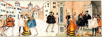 History of Sweden (1523–1611) - An image issued by and made during Gustav Vasa's reign, showing him (in dark brown clothing and cap) capturing and subduing Catholicism (the lady in orange dress).