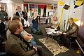 Gyrdir Eliasson, vinnare av Nordiska radets litteraturpris 2011 samtalar med Nordiska radets kommunikationschef Bodil Tingsby pa bokmassan i Goteborg 2011.jpg
