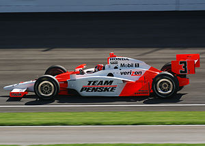 Hélio Castroneves - Castroneves during a practice session at the Indianapolis Motor Speedway