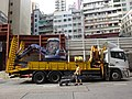 HK Central Queen's Road construction site Oct-2015 Tow trucks for dragging light vehicle.JPG