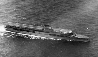 HMS Glorious - Aerial view of Glorious under way, 1936