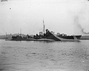 HMS Grenville (R97) - Image: HMS Grenville 1943 IWM FL 003249