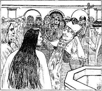 Gunnhild, Mother of Kings - Baptism of Gunnhild. Illustration by Krohg.