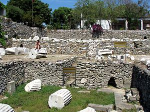 Bodrum - Surviving substructures and ruins of the Mausoleum of Mausolus, one of the Seven Wonders of the Ancient World, in Halicarnassus (modern Bodrum.)