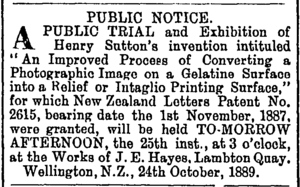 The Evening Post, Wellington, 24 October 1889 Henry Sutton (Ev. Post 24 Oct 1899).tiff