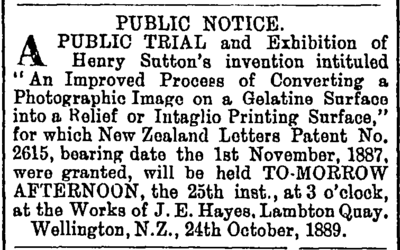 The Evening Post, Wellington, 24 October 1889. Henry Sutton (Ev. Post 24 Oct 1899).tiff