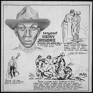 Henry Johnson (World War I soldier) - Henry Johnson biographical cartoon by Charles Alston, 1943