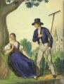 Henryk Jastrzembski akwarela Włościanie z okolic Frydka 1846.png