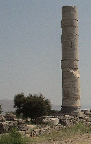 Heraion of Samos (Greece), the only standing column.jpg