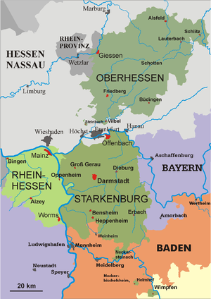 People's State of Hesse - The provinces of the People's State in 1930: Oberhessen, Starkenburg and Rhenish Hesse (Rheinhessen).