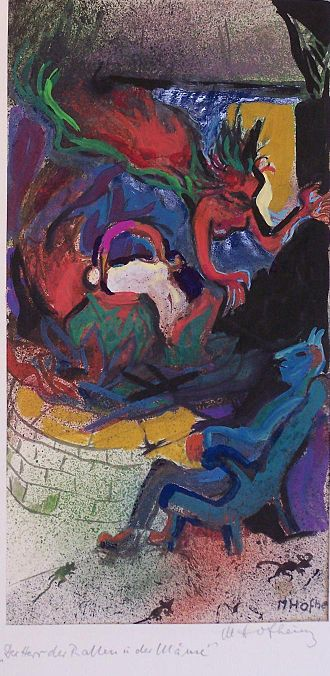 Margret Hofheinz-Döring - Witch and Mephisto to Faust I (1.Serie), mixed technics, 20x42 cm, 1960 (WV-Nr.1184), by Margret Hofheinz-Döring