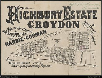 Croydon, New South Wales - Sales plan for land in the suburb of Croydon, including the boundaries of Anthony Hordern's estate, 1881