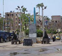 A copy of  The Rosetta Stone stands in  Rashid (Rosetta), Egypt.
