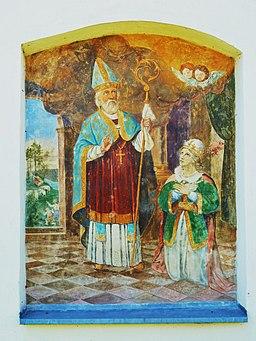 Hl.Zeno, Fresko Außenwand der kath. Pfarrkirche