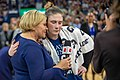 Holly Rowe gets a hug from Lindsay Whalen after the Lynx vs Mystics game.jpg
