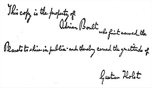Liner notes - Handwritten inscription by Gustav Holst on Adrian Boult's copy of the score of The Planets (from liner note to EMI CD 5 66934 2)