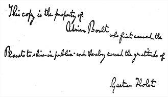 The Planets - Holst's inscription on Boult's score