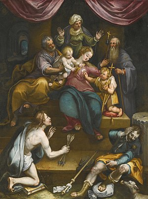 Denis Calvaert - Image: Holy Family with Saint John the Baptist and Saint Anne... by Denys Calvaert