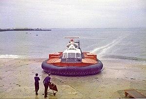 SR.N6 - An SR.N6 landing at Ryde, Isle of Wight, 1980