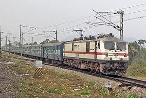 Duvvada railway station - Image: Howrah bound Amaravati Express with a WAP7 loco at Duvvada