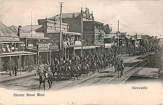 Newcastle, New South Wales - A parade of mounted soldiers along Hunter Street West, c. 1908