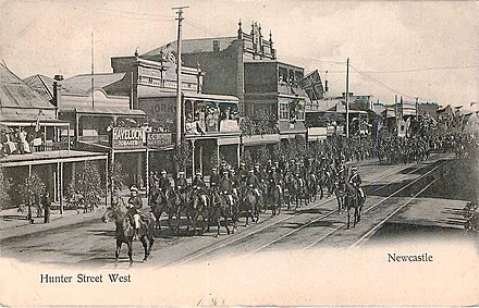 A parade of mounted soldiers along Hunter Street West, c. 1908 Hunter St West, Newcastle, 1908.jpg