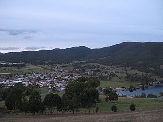 Huonville - Huonville township from Scenic Hill