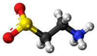 Ball-and-stick model of the hypotaurine zwitterion